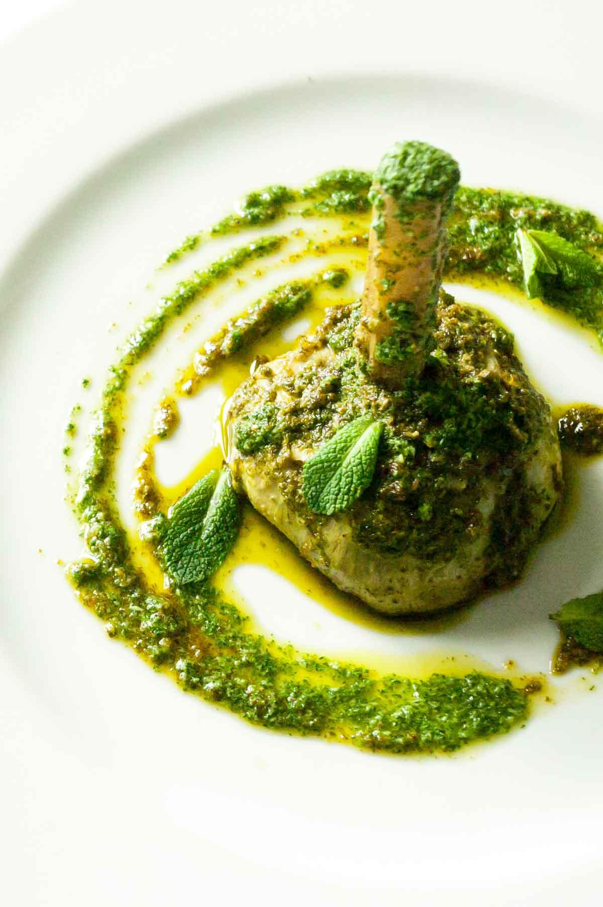 Artichokes with mint pesto (carciofi alla Romana)