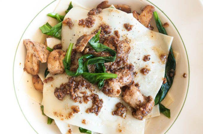 Spring mushroom lasagne with wild garlic