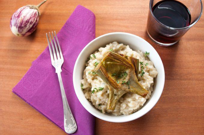 Aubergine risotto with artichokes