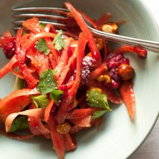Carrot Salad with Avocado and Raspberry – A sweet/savoury salad recipe with shavings of carrot, creamy avocado and fruity raspberries. Tossed with a tangy balsamic and quince salad dressing. A healthy, colourful appetizer or side salad. By @deliciouscratch | deliciousfromscratch.com