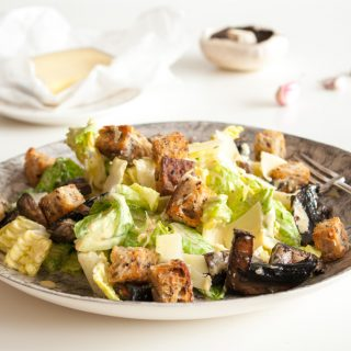 Gruyère Caesar salad with mushrooms