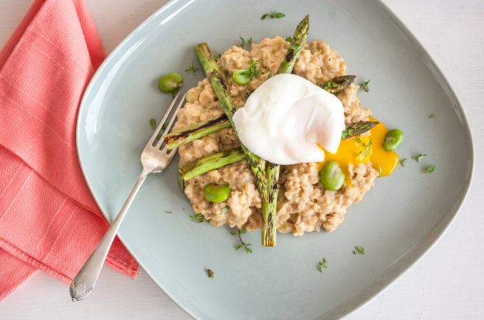Healthy risotto with spring vegetables