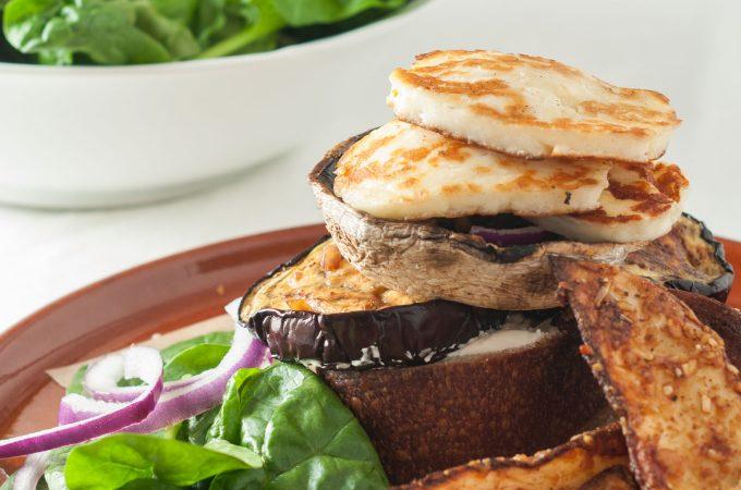 Portobello mushroom burgers with aubergine