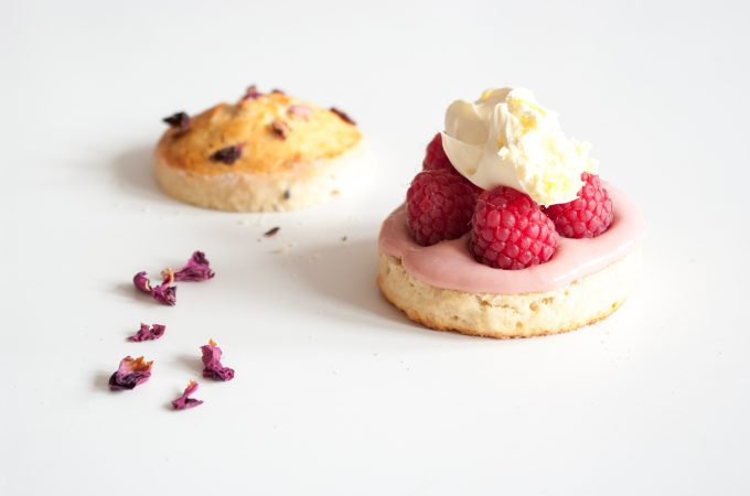 Raspberry scones with clotted cream