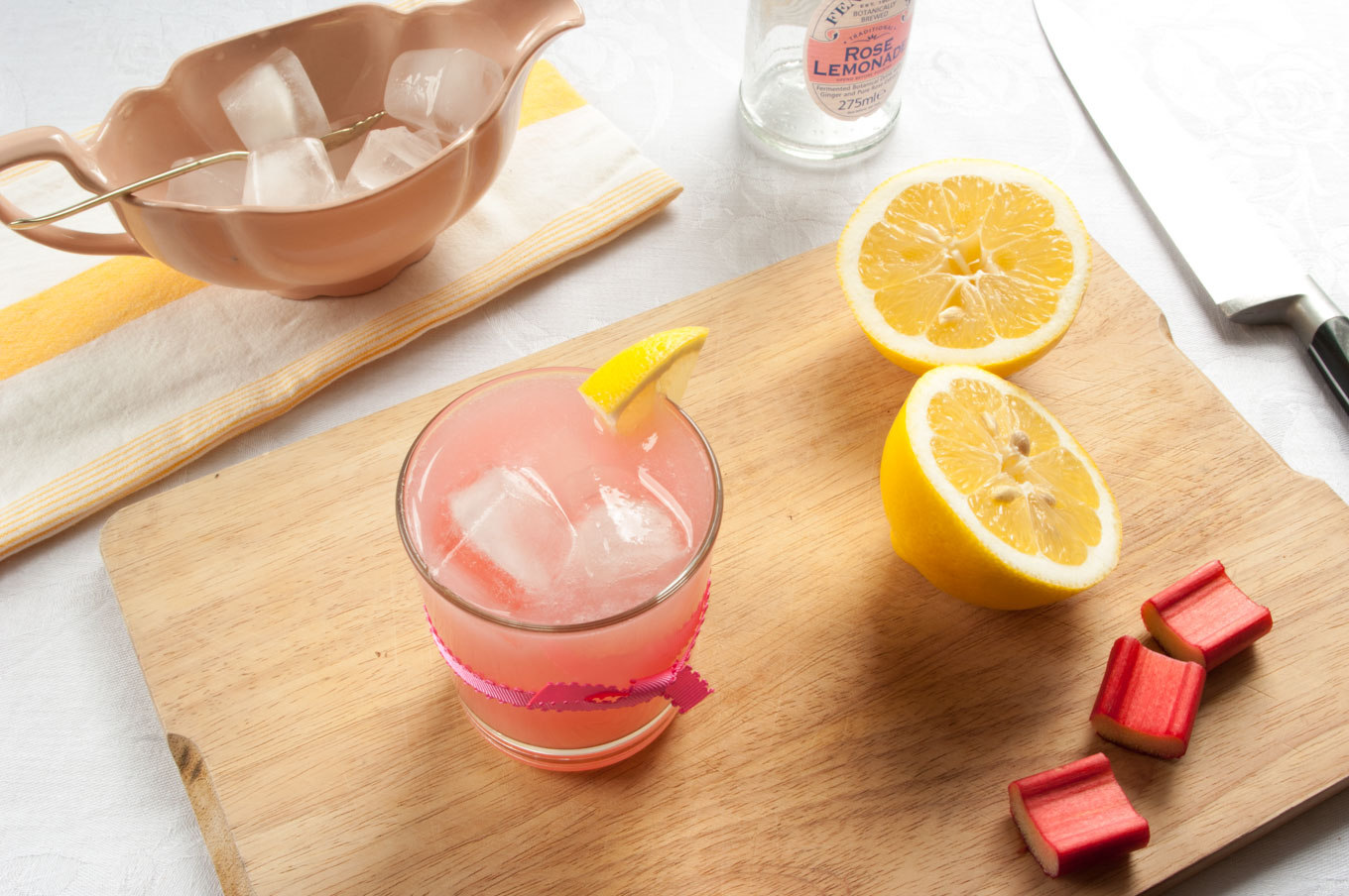 Rhubarb Cocktail with Lemon and Rose – A tart, fruity, lightly sweet cocktail recipe, with puréed pink rhubarb, rose lemonade and fresh lemon juice. A bright, colourful winter/spring cocktail. By @deliciouscratch | deliciousfromscratch.com
