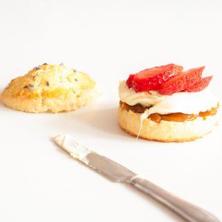 Salted caramel scones with cream
