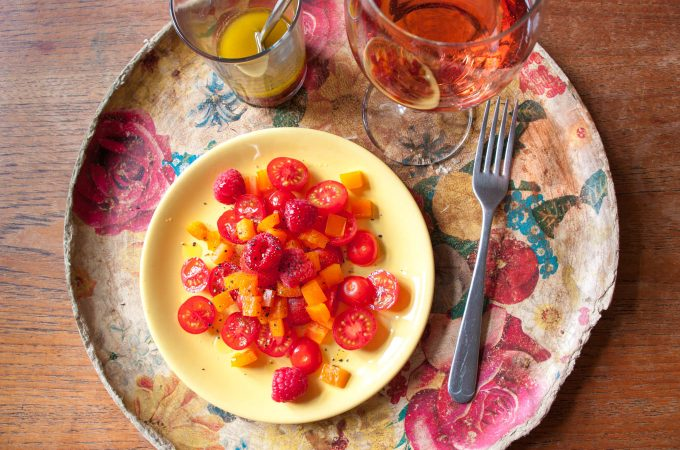 Tomato salad with raspberries