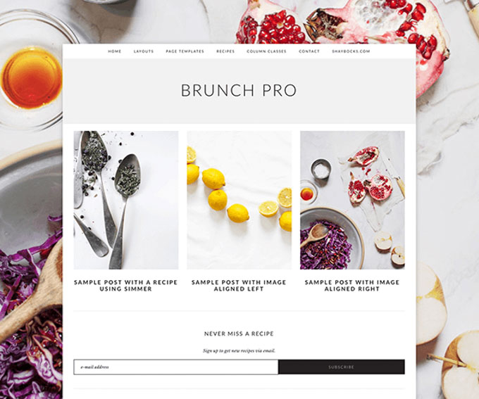 Brunch Pro Theme Review - Genesis Child Theme by Shay Bocks. Learn the pros and cons of this food blogging theme and learn the difference between Foodie Pro and Brunch Pro. By @deliciouscratch | deliciousfromscratch.com