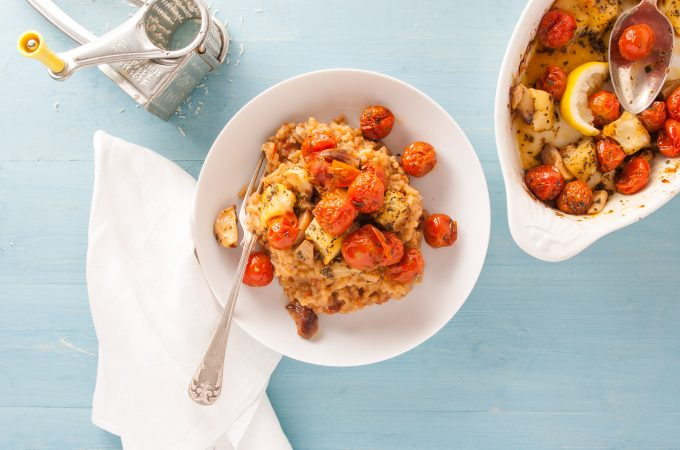 Tomato risotto with halloumi