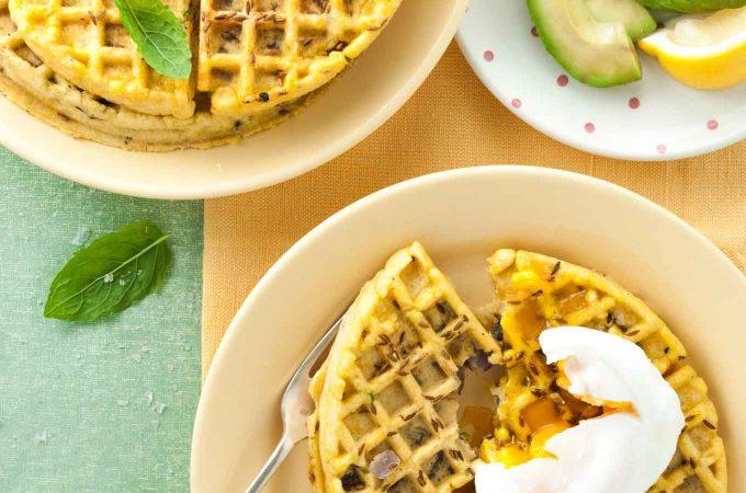 Halloumi onion bhaji waffles