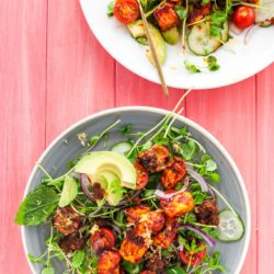 Harissa halloumi salad recipe with tomato pesto and avocado from How to Cook Halloumi cookbook by Nancy Anne Harbord. Chunks of halloumi roasted with harissa, piled on watercress, pea shoots and fresh tomato. A spectacular vegetarian halloumi salad recipe! By @deliciouscratch | deliciousfromscratch.com