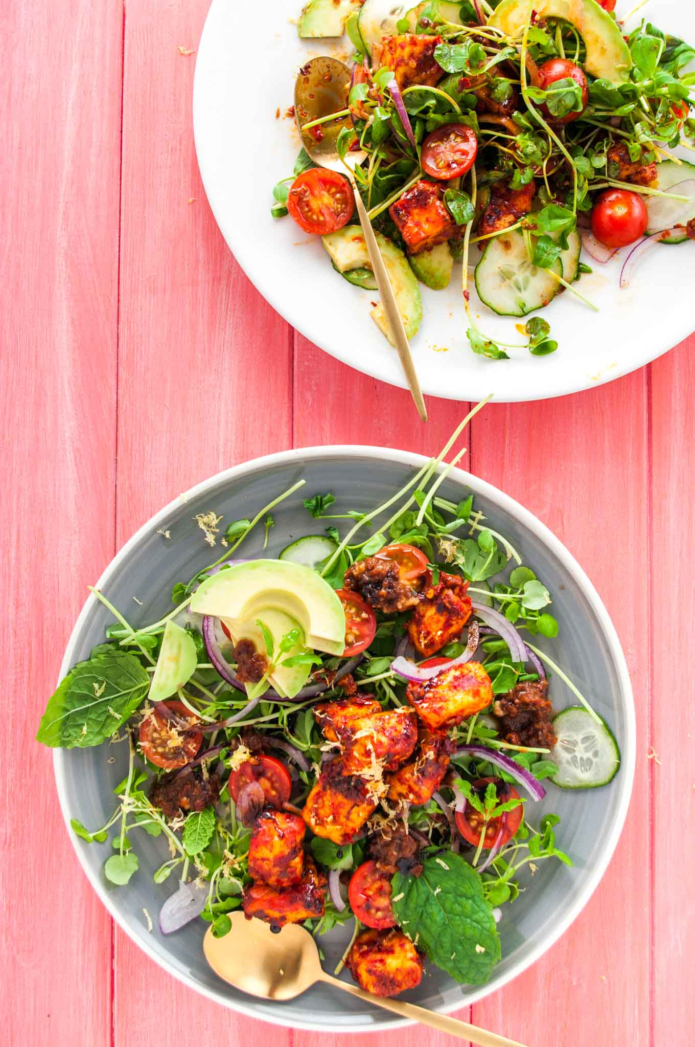 harissa halloumi salad with tomato pesto delicious from