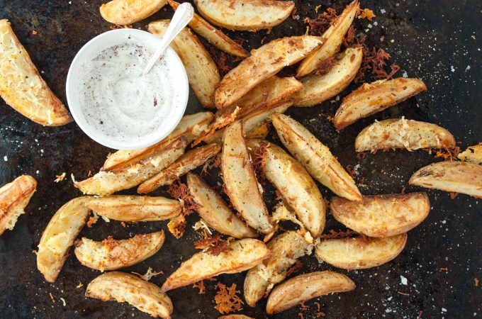 Caramelised halloumi potato wedges
