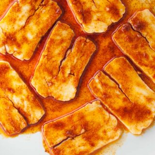 Halloumi 'bacon' recipe from How to Cook Halloumi cookbook by Nancy Anne Harbord. Smoky, meaty, umami marinated halloumi 'bacon'. Essential vegetarian bacon replacement! By @deliciouscratch | deliciousfromscratch.com