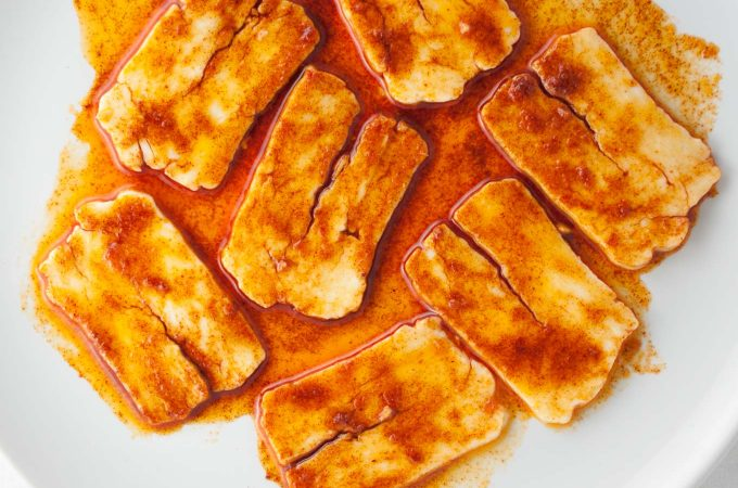 Halloumi 'bacon' – smoky, meaty, umami