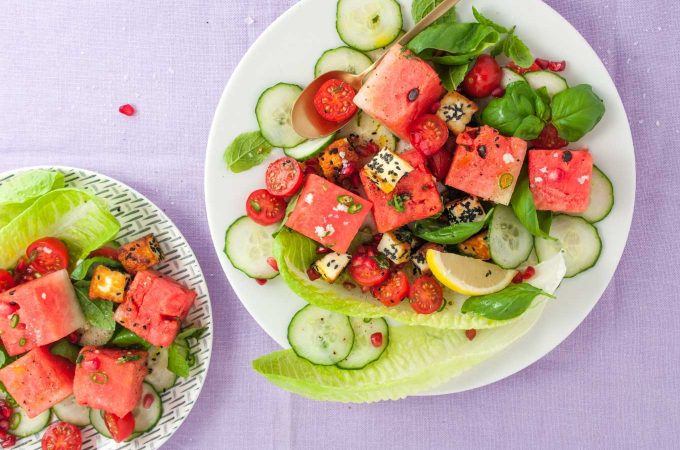 Halloumi watermelon salad with basil