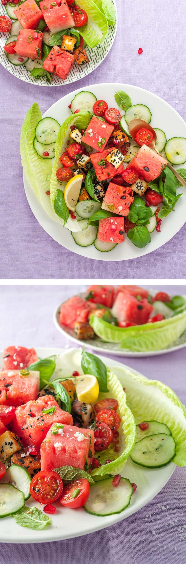 halloumi watermelon salad with basil delicious from scratch