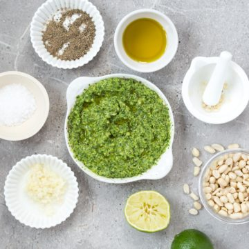 A bright, herby, zingy coriander pesto recipe that adds all kinds of flavour to vegetables and grains.