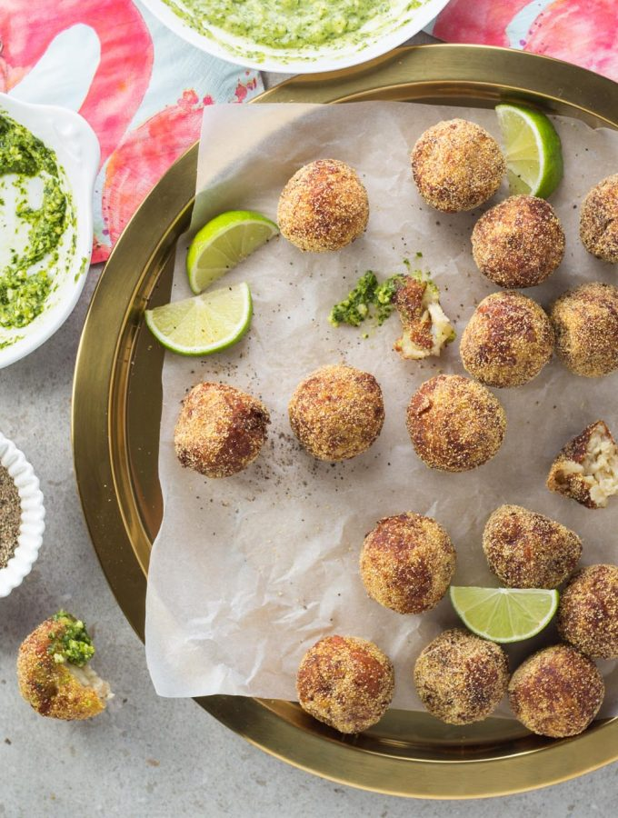 Crispy, creamy, beautifully seasoned potato cheese fritters, packed with halloumi, garlic, green chilli and lime. Zingy coriander pesto to dip.