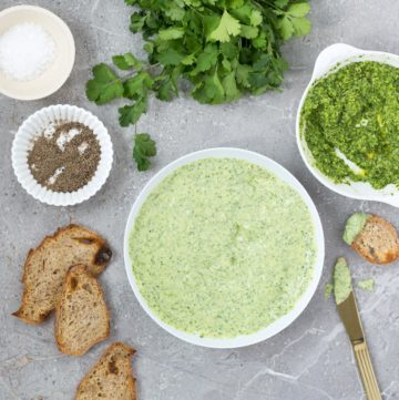 Homemade mayonnaise blended with garlic, lime and lots of fresh coriander. Great for dipping potatoes and veggies or dolloping on a veggie burger.