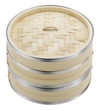 Best Kitchen Steamer - Vonshef Two Tier Bamboo Steamer with Steel Banding